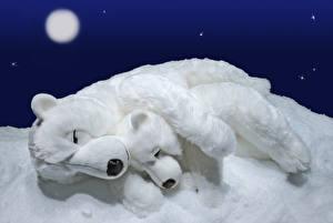 Картинка Медведи Полярный Детеныши Игрушки 2 Спящий Луна Снег Животные