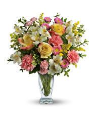 Картинка Букеты Розы Гвоздики Альстрёмерия Белый фон Ваза
