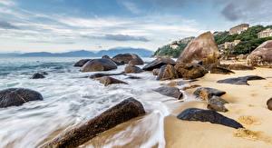 Обои Бразилия Берег Волны Камень Рио-де-Жанейро Природа