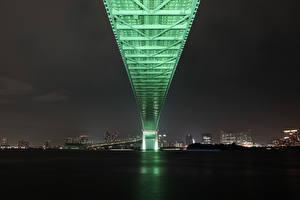 Фотография Мосты Япония Токио Ночные Rainbow Bridge