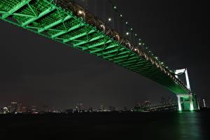 Картинка Мосты Япония Токио Ночные Rainbow Bridge