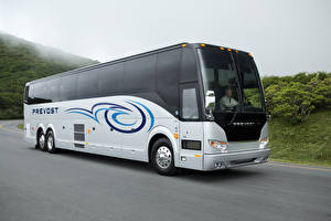 Обои Автобус Серебристый Движение 2011-17 Prevost H3-45 Автомобили