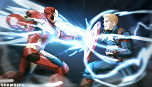 Фотография Первый мститель: Противостояние Битвы Капитан Америка герой Железный человек герой Вдвоем Щит Tony Stark Кино Фэнтези
