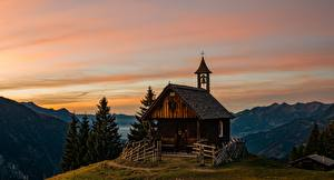 Фотография Церковь Австрия Вечер Деревянный Альпы Природа