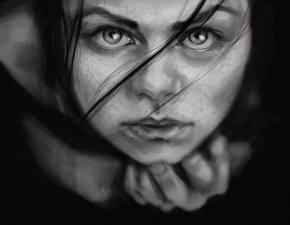 Фотографии Вблизи Смотрит Черно белые Лицо Девушки