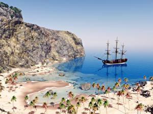 Обои Берег Корабли Парусные Камень Утес Пальмы Природа
