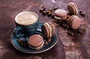 Обои Кофе Капучино Макарон Чашка Блюдце