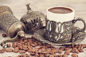 Картинки Кофе Чашка Зерна Блюдце Пища
