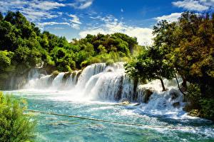 Картинки Хорватия Водопады Krka National Park Природа