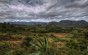 Картинка Куба Небо Горы Поля Облака Кусты