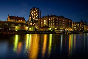 Фотографии Дания Дома Пристань Копенгаген Залива Ночью Города