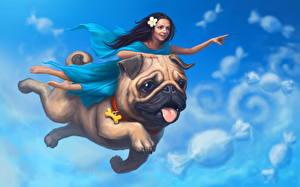 Фотография Собаки Волшебные животные Мопса Полет Два Фантастика