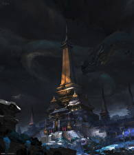 Картинки Драконы Ночные Башня Фэнтези