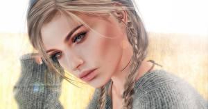 Фотографии Лицо Смотрит Волосы Русые Косички Девушки 3D_Графика
