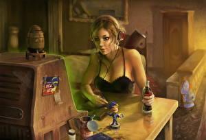 Фотографии Fallout 3 Coca-Cola Наушники Стол Девушки Фэнтези