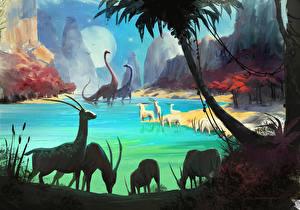 Картинки Фантастический мир Динозавры No Man's Sky Игры Фэнтези