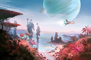 Картинки Фантастический мир Космолет No Man's Sky Игры Фэнтези