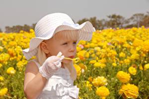 Картинки Поля Девочки Шляпа Мыльные пузыри Дети
