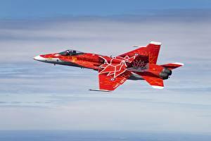 Картинки Самолеты Истребители Канада Красный Летящий Американские Hornet CF-18 Авиация