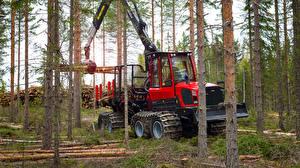 Фото Лес Форвардер Красные Ствол дерева 2016-17 Komatsu 855