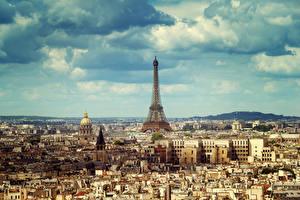 Фотографии Франция Здания Небо Париж Мегаполис Эйфелева башня Облака Города