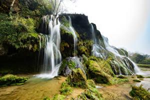 Фотографии Франция Водопады Мох Cascade des Tufs