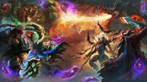 Обои Hearthstone: Heroes of Warcraft Битвы Драконы Воители Игры Фэнтези