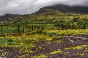 Картинка Исландия Луга Холмы Туман Ограда HDRI Thorsmork National Park