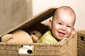 Фотография Младенцы Улыбается Корзина ребёнок