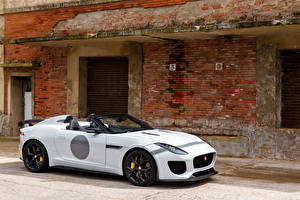 Картинка Ягуар Белая Родстер UK-spec F-Type 2014 Project 7 Автомобили