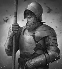 Картинка Рыцарь Мужчины Броня Черно белое Шлема С копьем Фэнтези