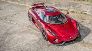 Обои Кенигсегг Красный Металлик Сверху 2015-16 Regera Авто