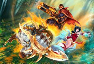 Картинка League of Legends Ahri Воители Трое 3 Graves, Rengar, Pridestalker, Outlaw Фэнтези