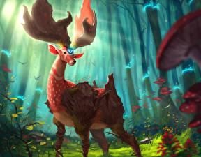 Картинка Волшебные животные Олени Леса Рога Фантастика
