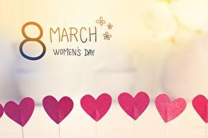 Обои Международный женский день Праздники Сердце Английский