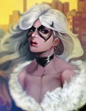 Обои Маски Взгляд Волосы Блондинка Felicia Hardy, Black Cat Фэнтези Девушки картинки