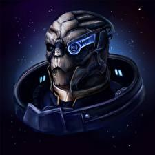 Картинки Mass Effect Инопланетяне Голова Garrus Vakarian Фэнтези