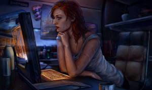 Фотографии Mass Effect Рыжая Игры Девушки