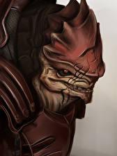 Картинки Mass Effect Инопланетяне Urdnot Wrex, Krogan Battlemaster Игры Фэнтези