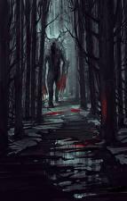 Картинка Чудовище Деревья Кровь Ночные Тропинка Фантастика