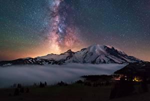 Фото Горы Звезды Небо Пейзаж Штаты Вашингтон Cascades, Mount Rainier Природа