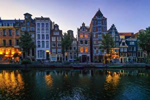 Фотография Нидерланды Амстердам Дома Речка Вечер