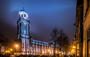 Фотографии Нидерланды Храмы Улиц Ночью Уличные фонари Deventer Города