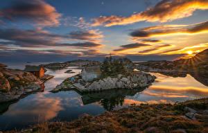Фотография Норвегия Рассветы и закаты Остров Здания Небо Пейзаж Залив Облака Солнце Rogaland Природа