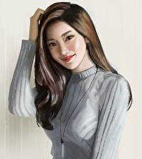 Картинка Рисованные Азиаты Волосы Шатенка Улыбка Девушки