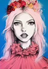 Картинки Рисованные Смотрит Волосы Венок Девушки