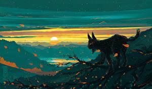 Фотографии Рисованные Рыси Рассветы и закаты Животные