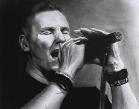 Фото Рисованные Мужчина Черно белое Микрофоном Marko Saaresto
