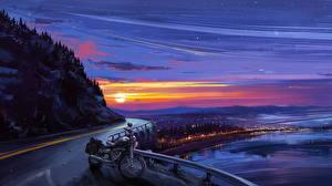 Фотография Рисованные Дороги Рассветы и закаты Солнце
