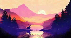 Обои Рисованные Рассветы и закаты Горы Олени Озеро Пейзаж Ель Природа картинки